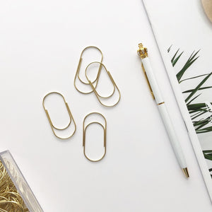 Gold Wide Paper Clips Set