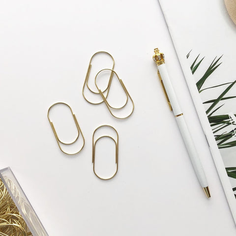 Gold Wide Paper Clips Set - PapergeekCo