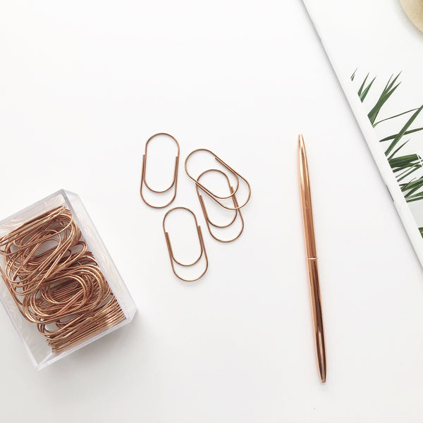 Rose Gold Wide Paper Clips Set - PapergeekCo