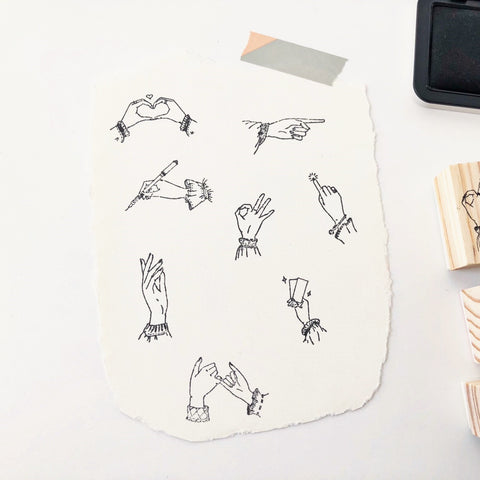 Hand Gestures Rubber Stamp - PapergeekCo
