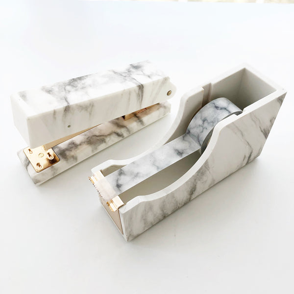 Marble Stapler & Tape Dispenser Set