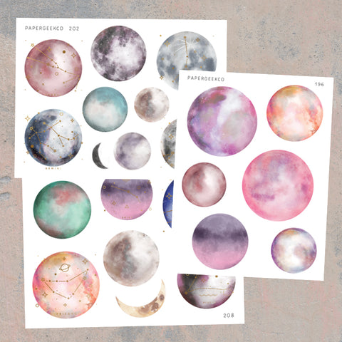 3 Sheets - Clear Constellation Moon Stickers - PapergeekCo
