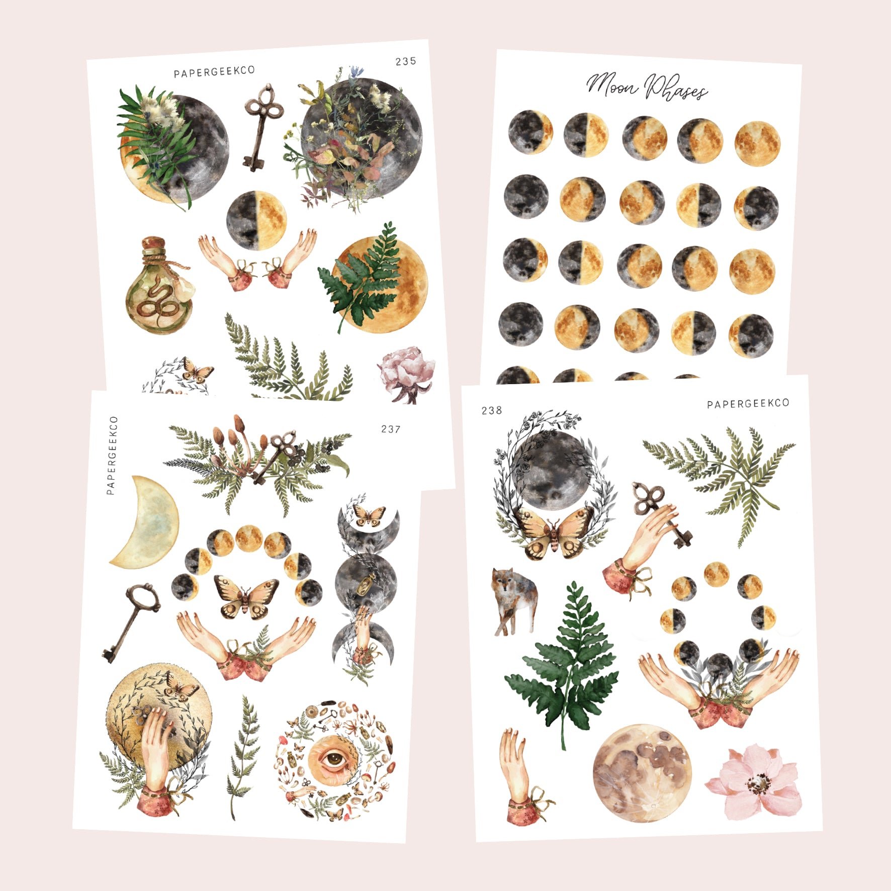 Moon Garden Bundle 4 sheets pack - PapergeekCo