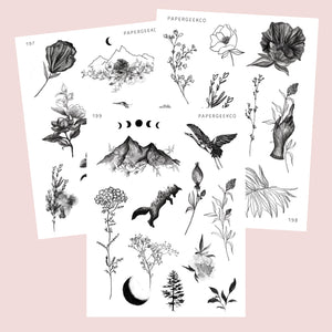 3 Sheets - Clear Nature Lineart Stickers - PapergeekCo