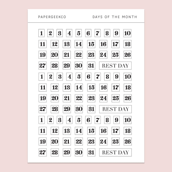 93 Days of the Month Stickers - Clear Planner Stickers - PapergeekCo