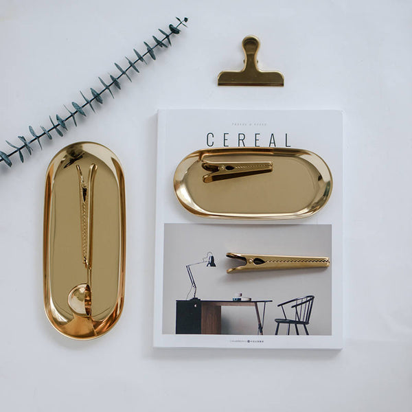 Gold Tray - Jewelry Dish Ring Dish - PapergeekCo