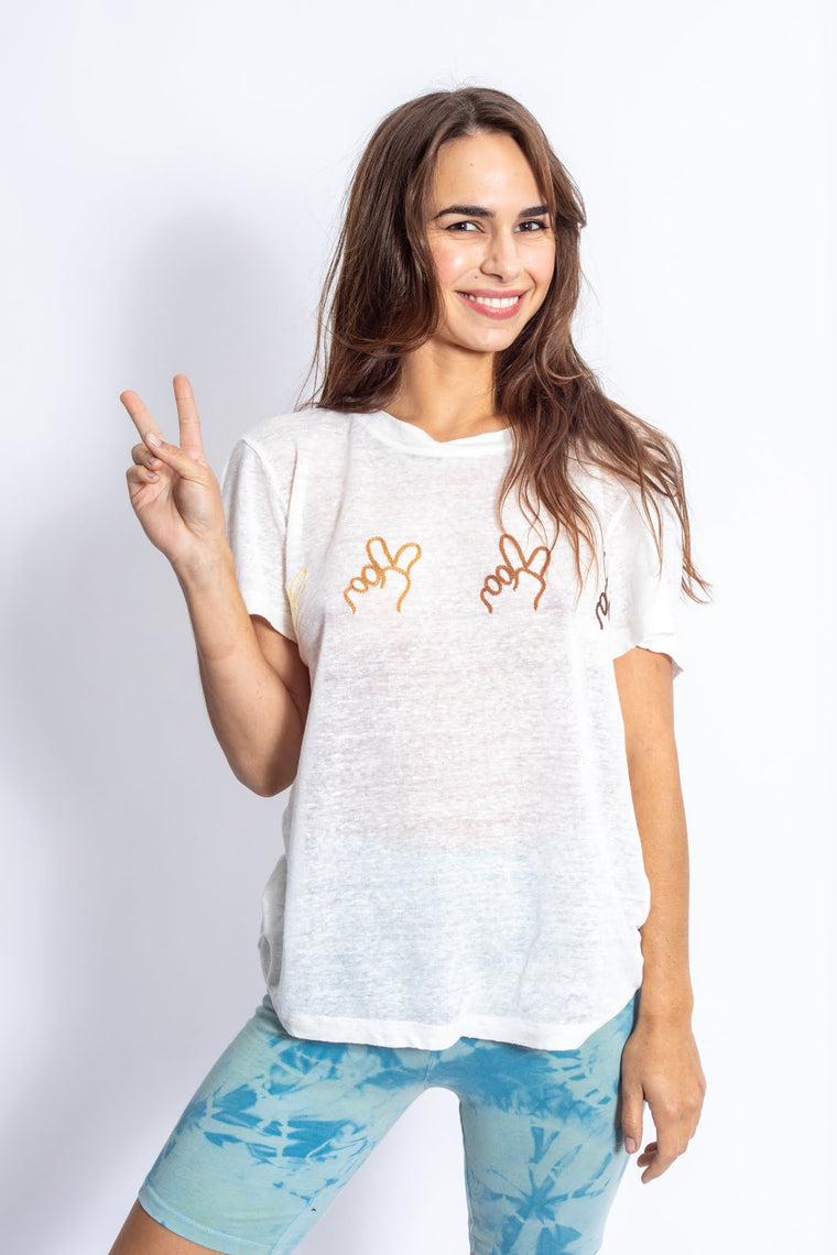 PEACE PEACE PEACE LINEN TEE - new colorway!