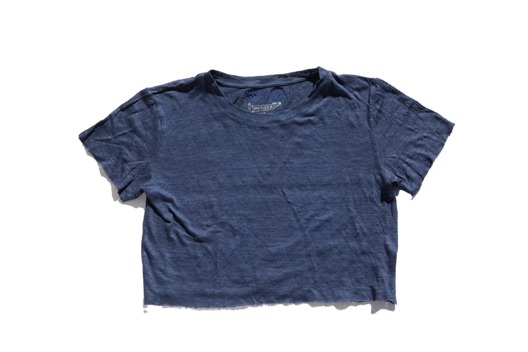 PEACE + LOVE CROPPED LINEN TEE | Navy - New!