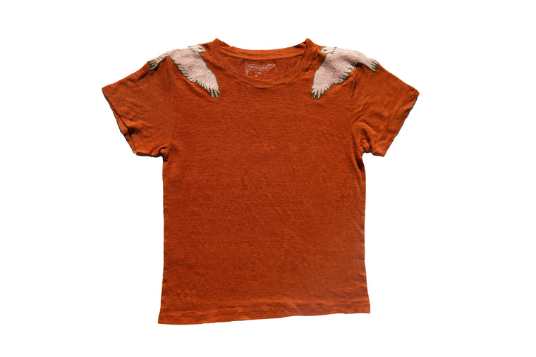 SOARING BALD EAGLE LINEN TEE | TERRACOTTA - New!
