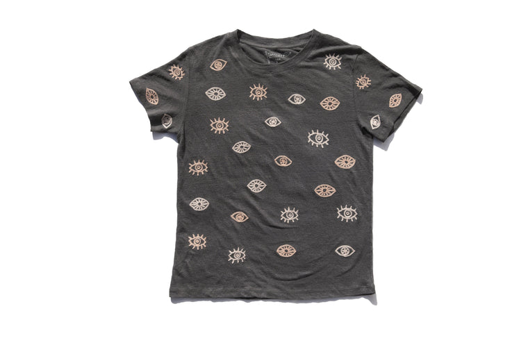 EVIL EYES LINEN TEE | CHARCOAL - NEW!