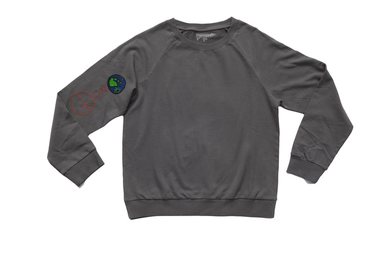 PEACE ON EARTH SWEATSHIRT | CHARCOAL