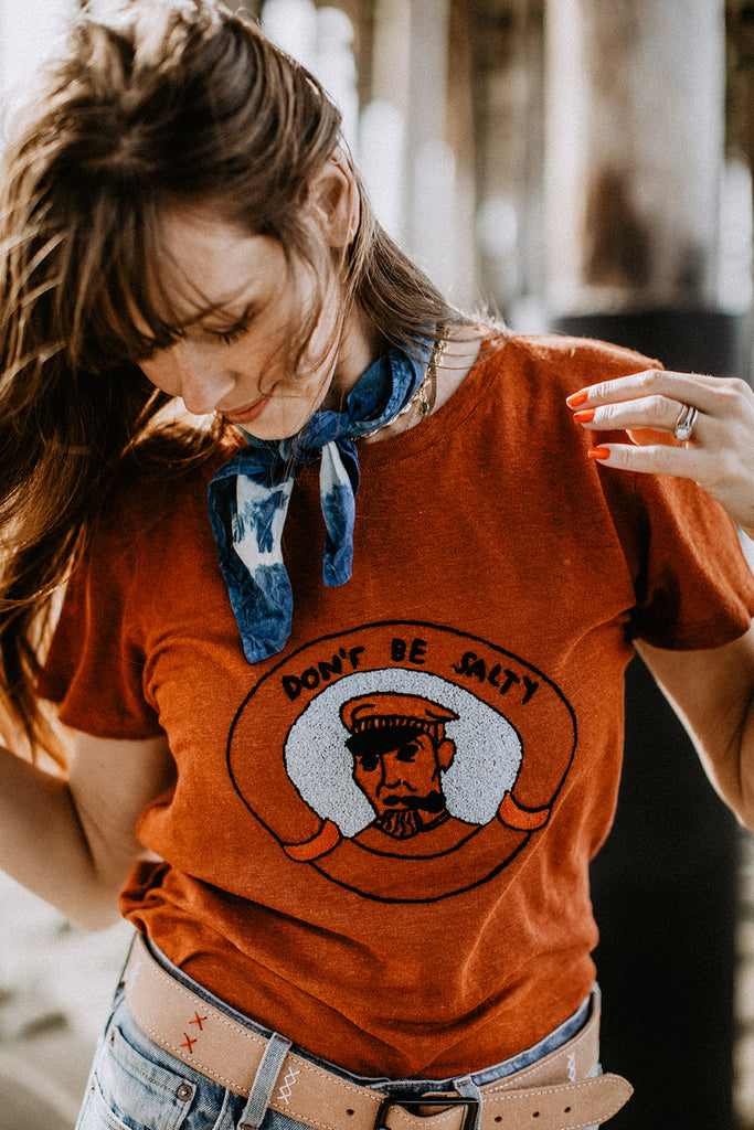DON'T BE SALTY LINEN TEE | TERRACOTTA - New!