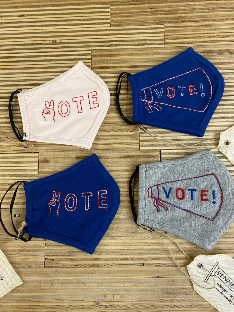 PEACE VOTE EMBROIDERED MASK | ROYAL BLUE