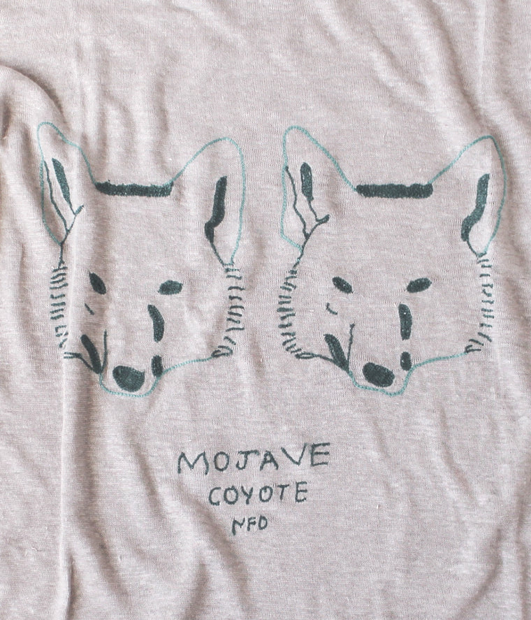 embroidered linen tee shirt with Mojave and coyotes