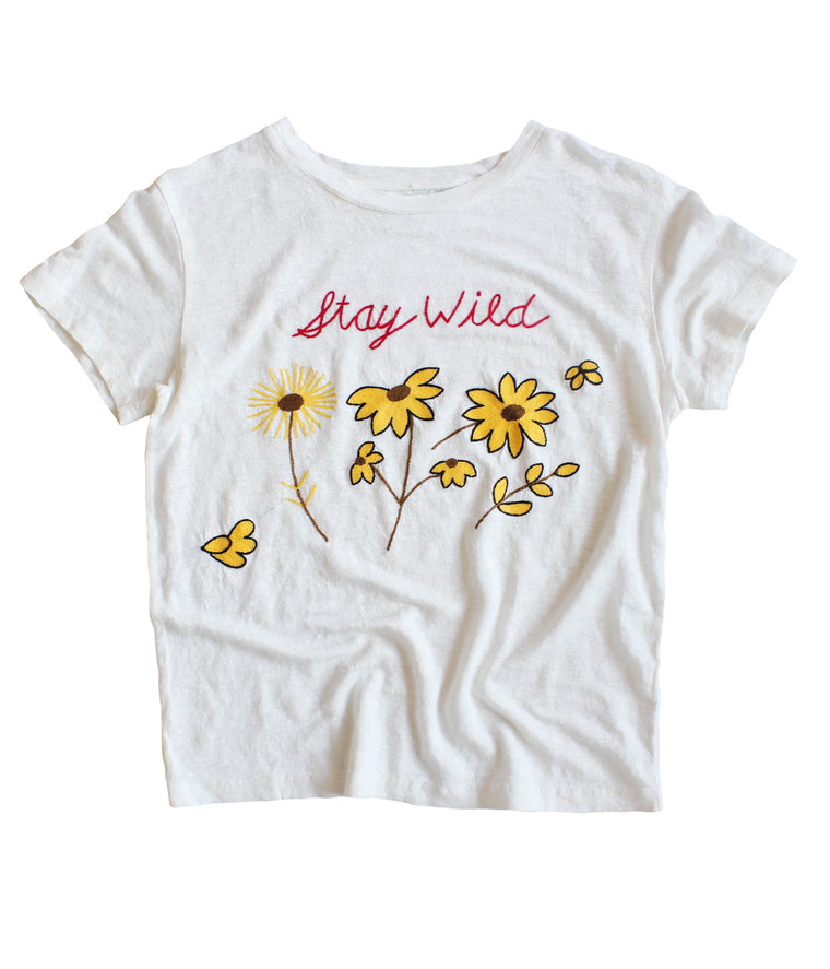 STAY WILD LINEN TEE | BONE - Back in Stock!