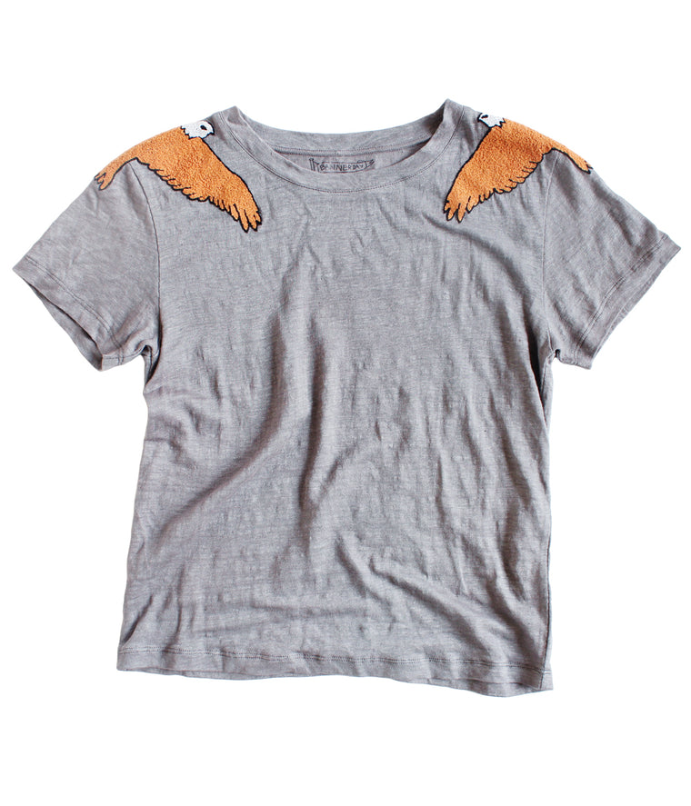 SOARING BALD EAGLE LINEN TEE | CHARCOAL