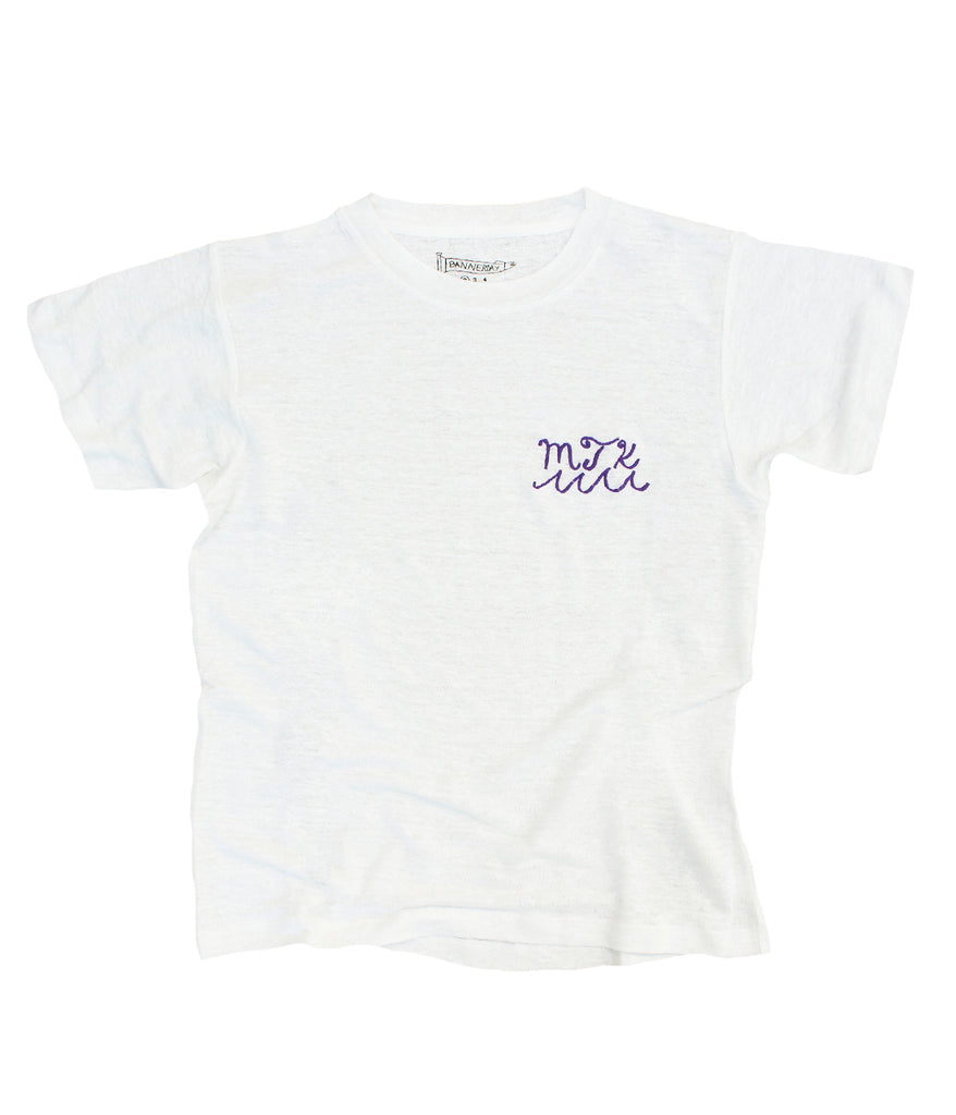 embroidered linen tee shirt mtk and waves on pocket