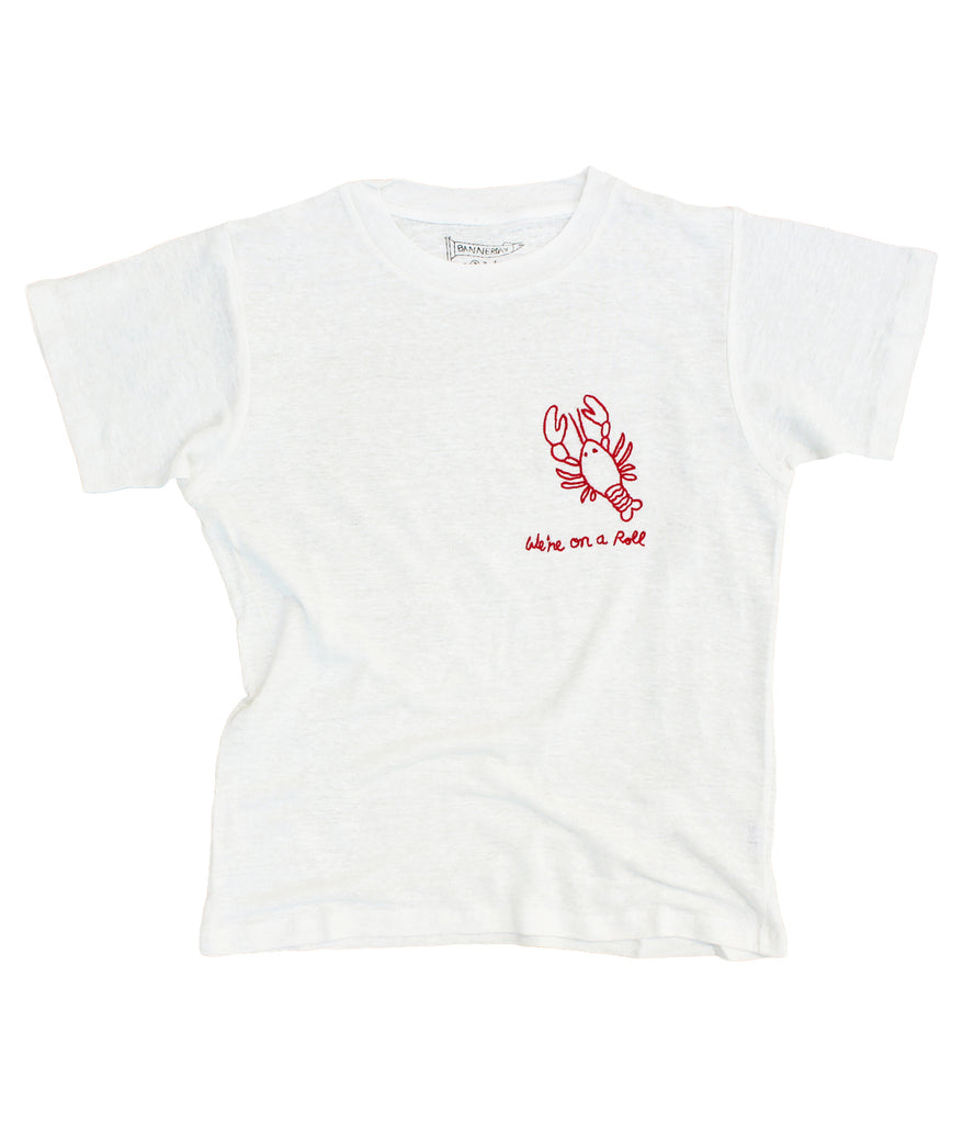 embroidered linen tee shirt with lobster were on a roll