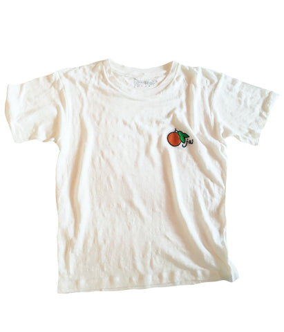 embroidered linen tee shirt Ojai inspired with fruit