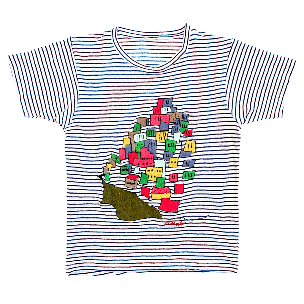 embroidered linen tee shirt with Sorrento houses
