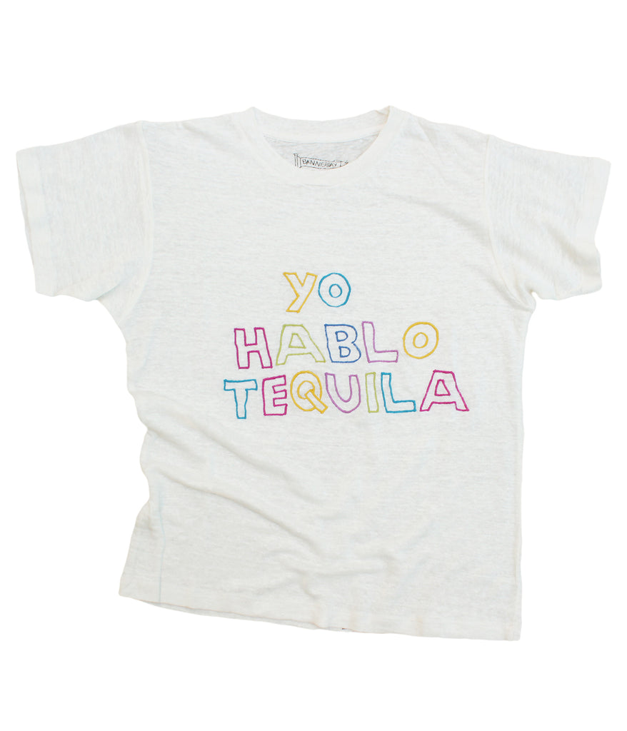 embroidered linen tee shirt with Spanish writing tequila