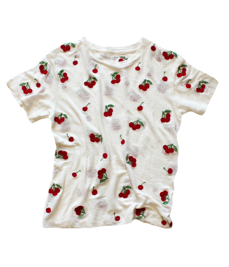 CHERRIES LINEN TEE | BONE -BACK IN STOCK!