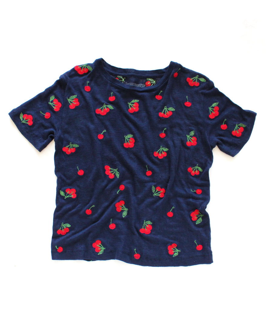 LINEN CHERRIES TEE | NAVY - BACK IN STOCK!