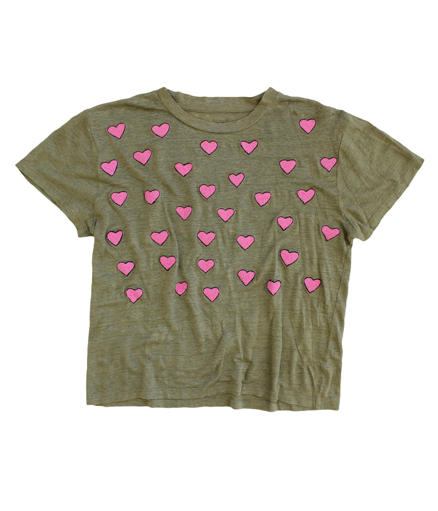 embroidered linen tee shirt with hearts