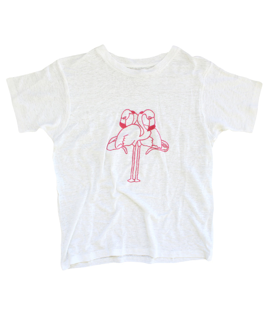 embroidered linen tee with flamingos