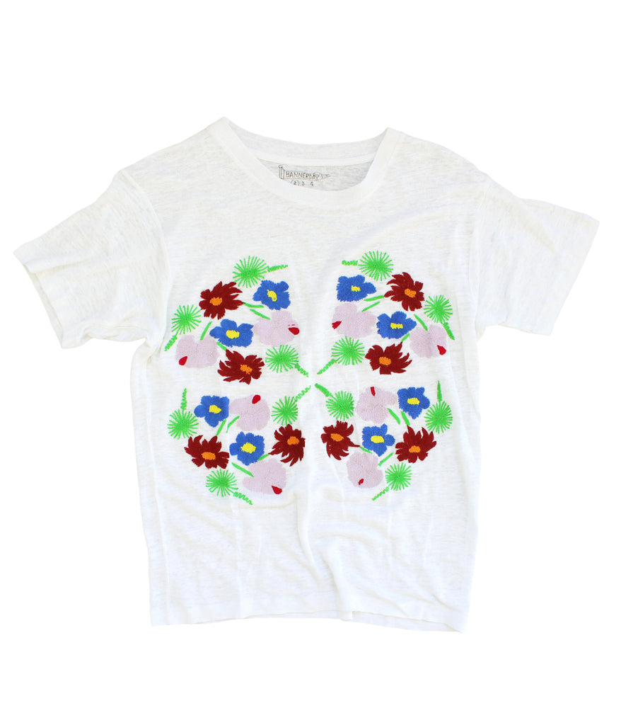 embroidered linen tee with flowers and yuccas