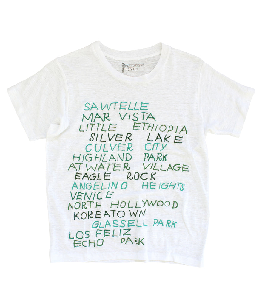 embroidered linen tee shirt with Los Angeles cities