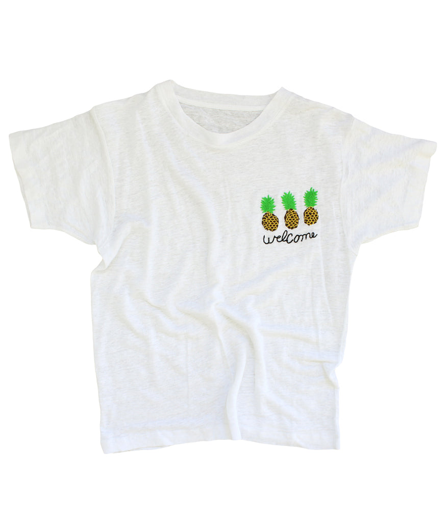 WELCOME PINEAPPLES LINEN TEE