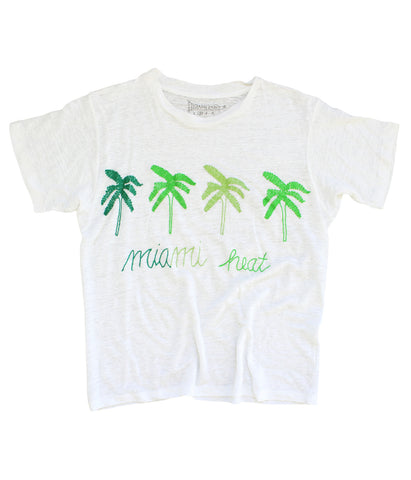 embroidered linen tee shirt with palm trees and Miami heat