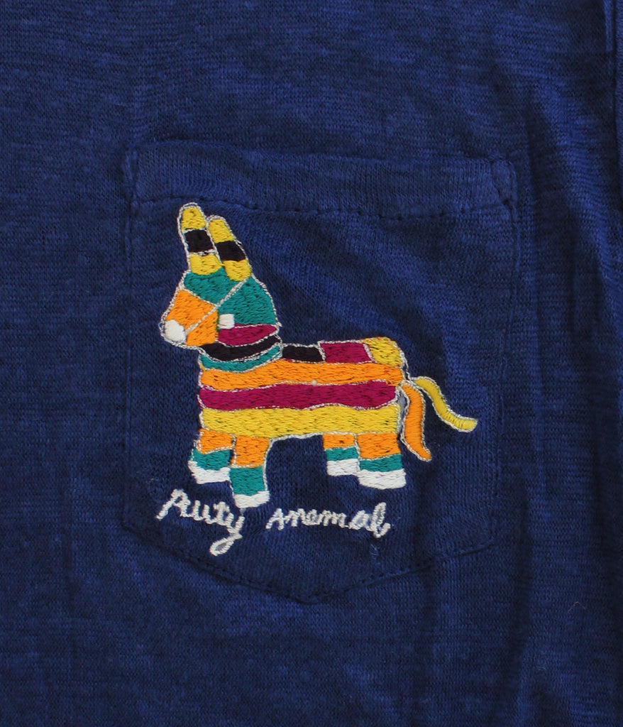embroidered linen tee shirt with Piñata and writing
