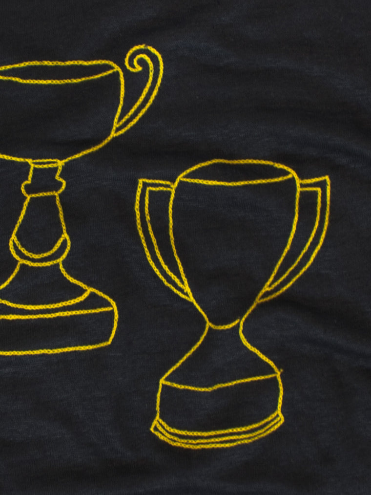 embroidered linen tee shirt with trophies