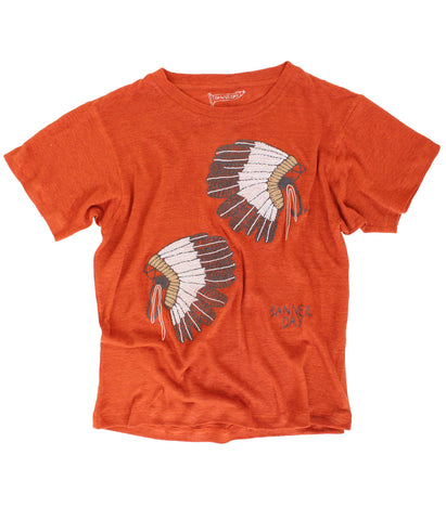embroidered linen tee native american