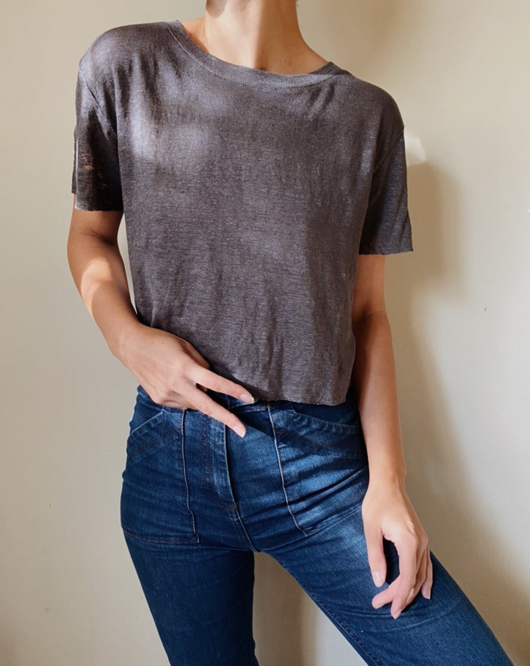 PEACE + LOVE CROPPED LINEN TEE | Charcoal - New!