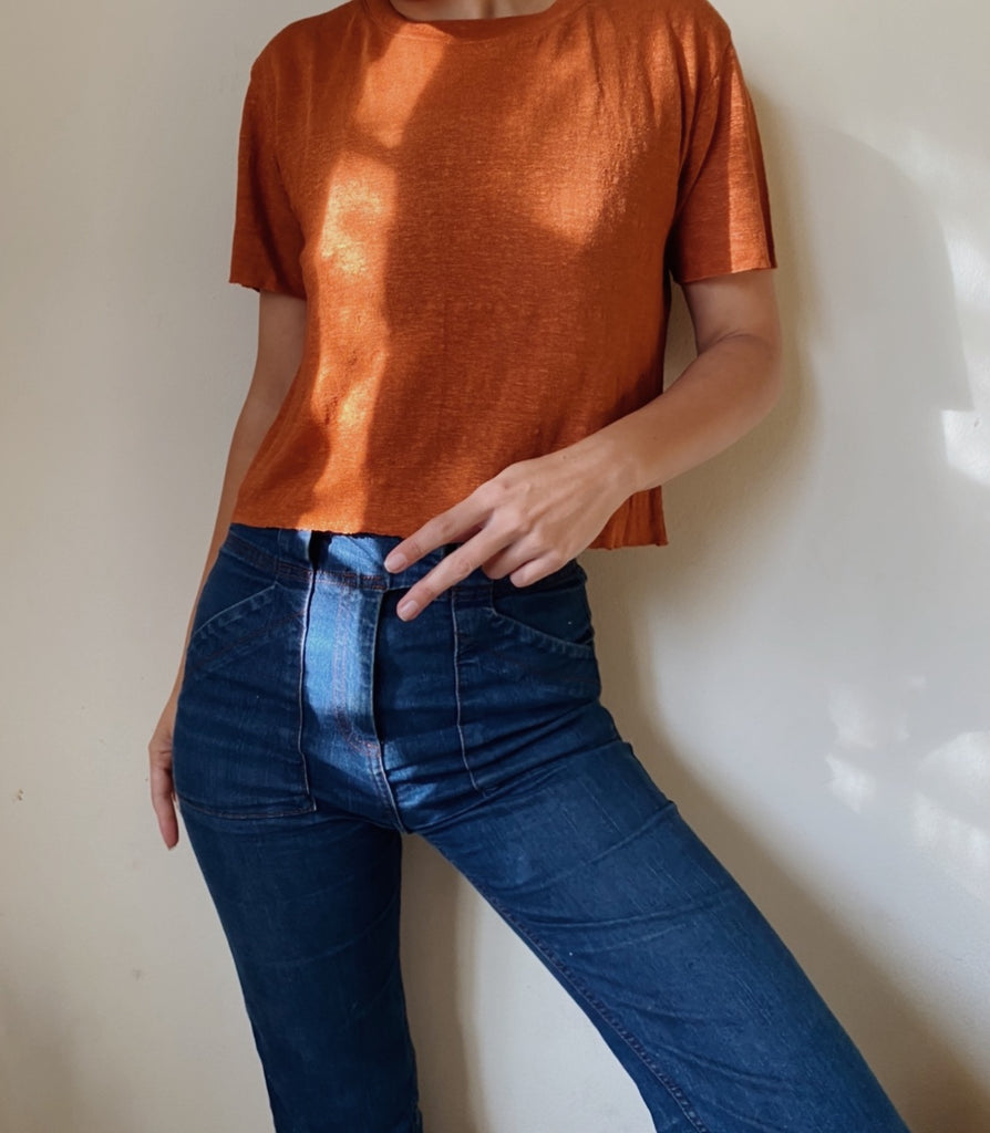 SOLID CROPPED LINEN TEE | Terracotta - New!