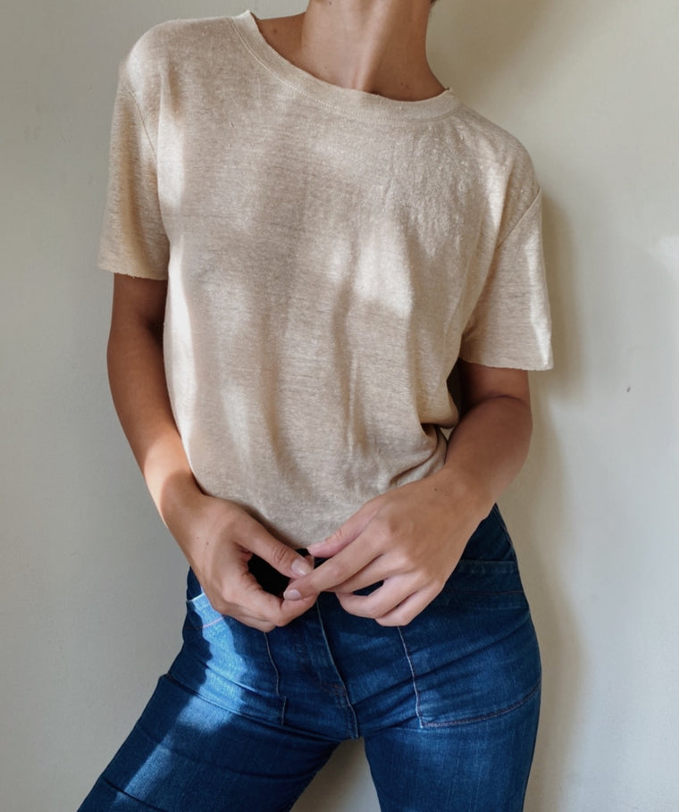 PEACE + LOVE CROPPED LINEN TEE | Sand - New!