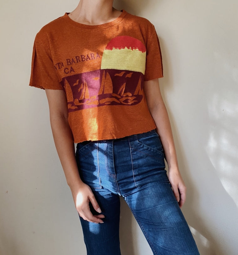 SANTA BARBARA EMBROIDERED CROPPED LINEN TEE | Terracotta - New!
