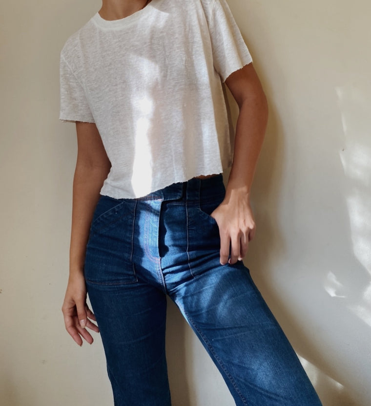 SOLID CROPPED LINEN TEE | Bone - New!