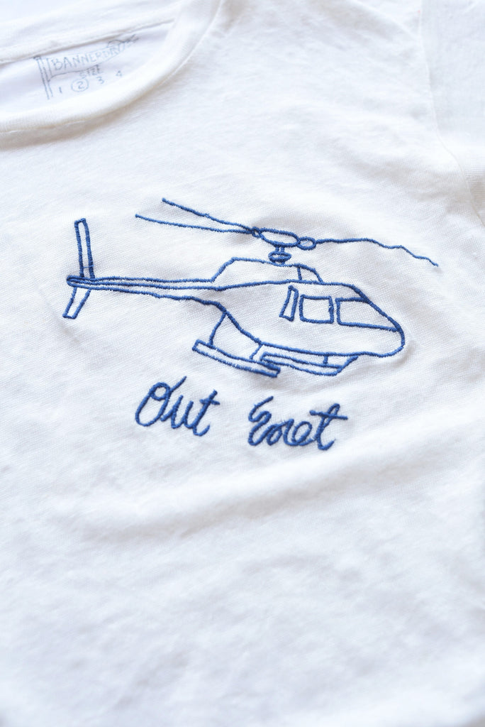 embroidered linen tee shirt with helicopter and writing