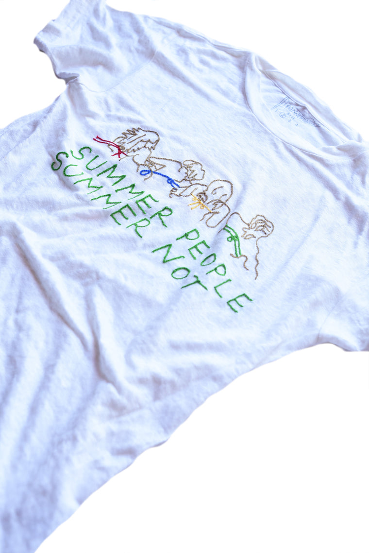 embroidered linen tee shirt summer people