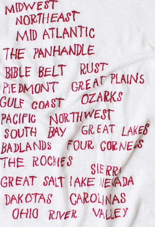 embroidered linen tee shirt with united states regions