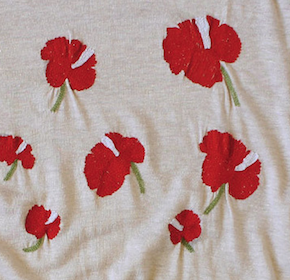 embroidered linen tee shirt with hibiscus flowers
