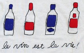 embroidered linen tee shirt with wine bottles and french writing
