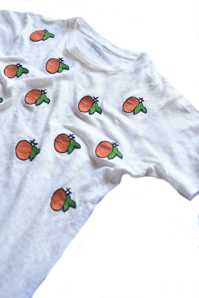 embroidered linen tee shirt with fruit