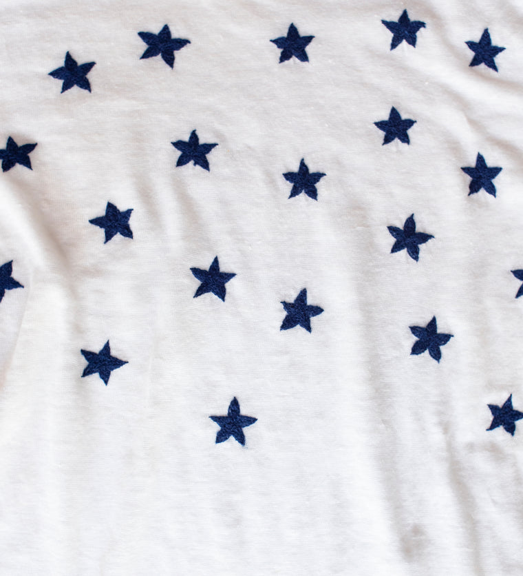 embroidered linen tee shirt with stars