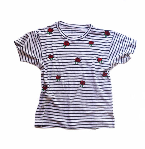 embroidered linen tee shirt with red roses
