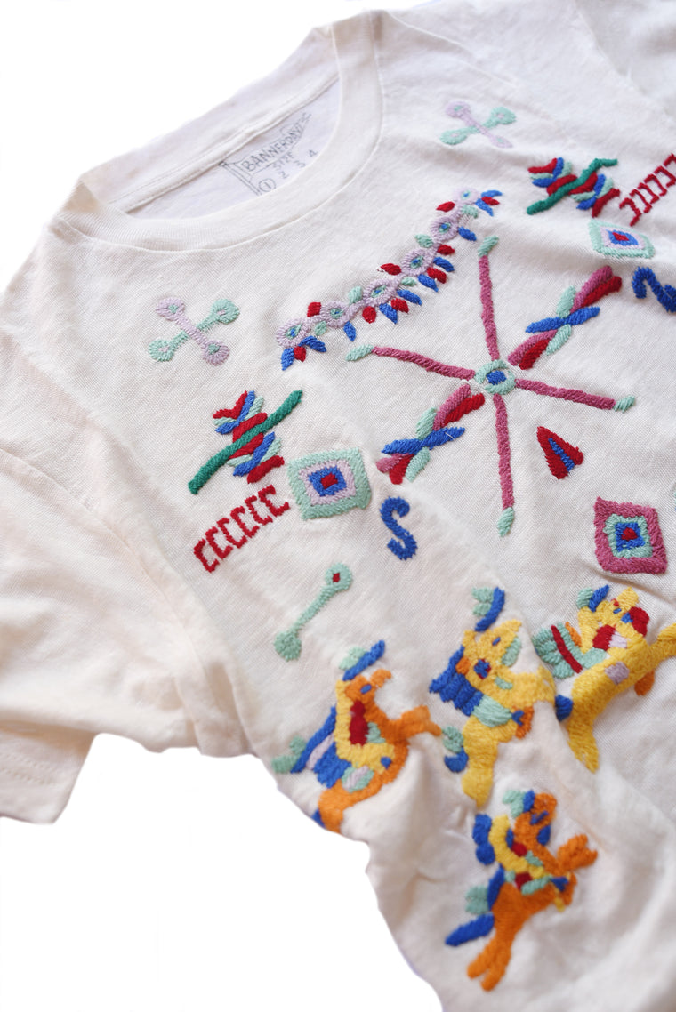 embroidered linen tee shirt with wild west iconography